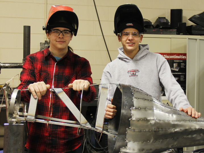 Dual Credit Welding Students, Quinton Scoville (left) and Gabriel Christiansen (right)
