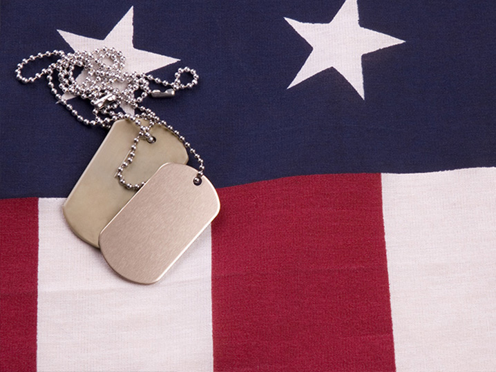 US flag with dog tags