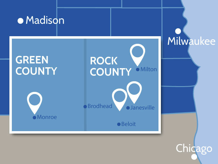 map depicting presence in rock in green counties
