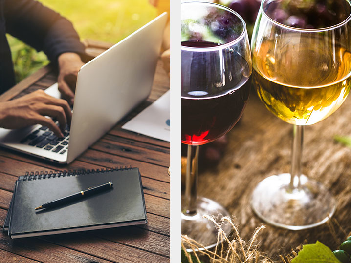 split image of a person using computer and two glasses of wine