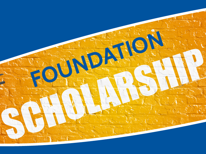 Text: Foundation Scholarship in blue with yellow background
